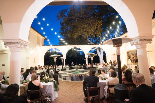 Courtyard lit up at night, Photo courtesy of Amber Events