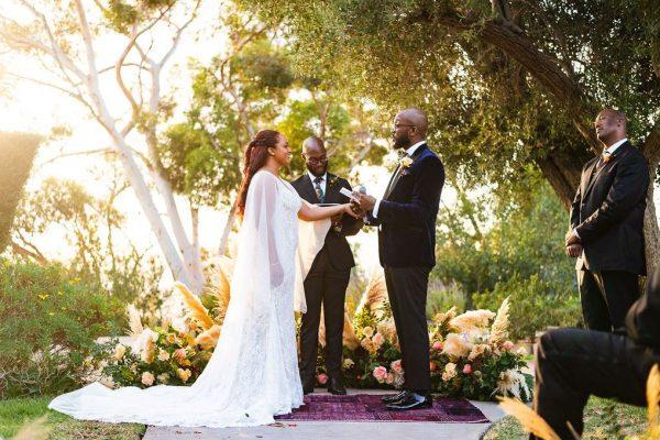 Wedding ceremony in the back gardens. Photo by Zyaire Porter / Porterhouse LA