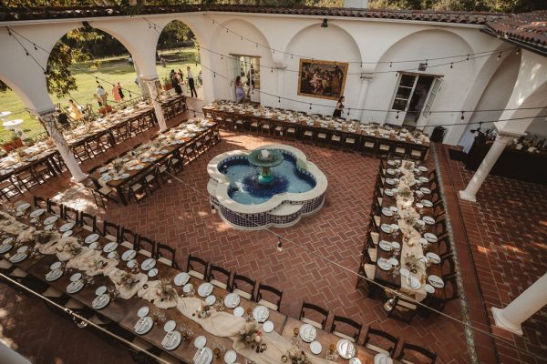 Reception in the fountain courtyard. Photo by Iris & Light Photography