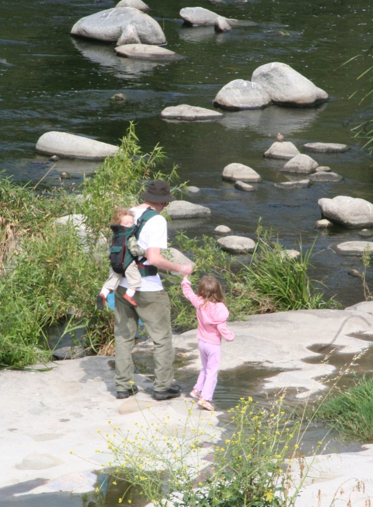 Family on Los Angeles River in Elysian Valley