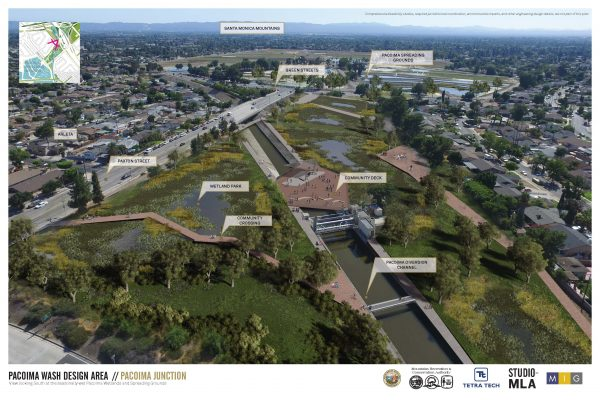Rendering of proposed project, Pacoima Wash Design Area