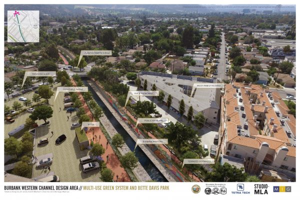 Rendering of proposed project: Burbank Western Channel Design Area