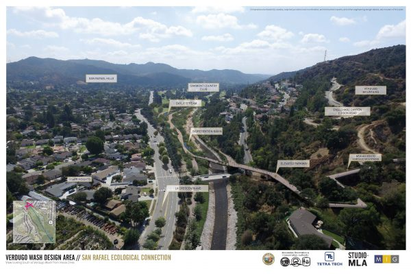 Rendering of proposed project, Verdugo Wash Design Area